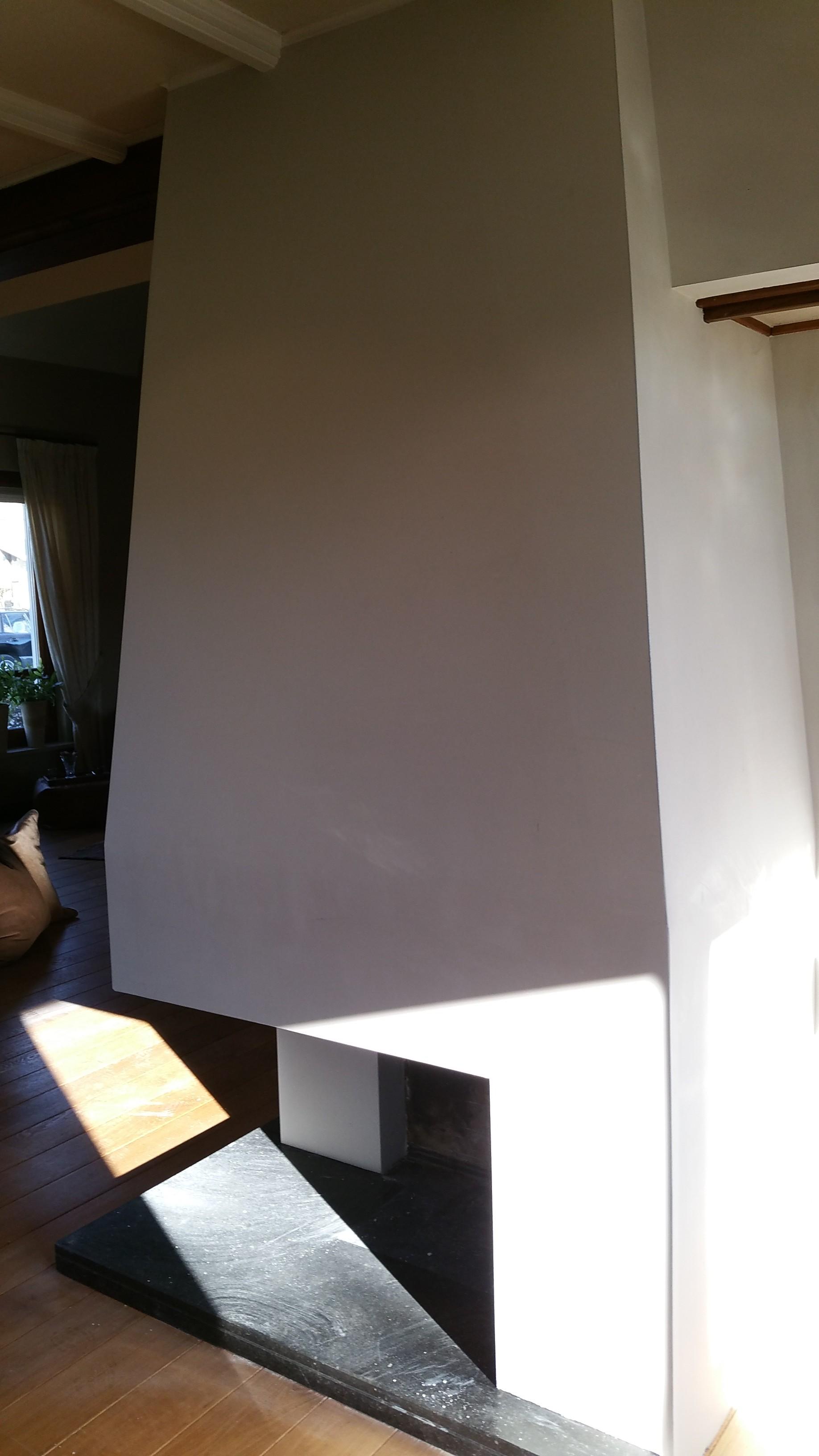 Houtenkastenwand Met Haard En Betonlook: Open haard beton look ...